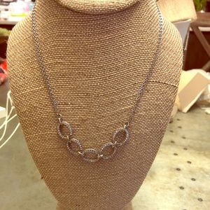 Pave links collar necklace